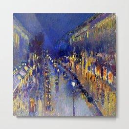 Pissarro Montmartre Boulevard Night Metal Print