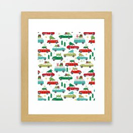 Christmas holiday vintage cars classic festive christmas tree snowflakes winter season Framed Art Print