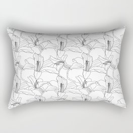 Monochrome Tropical Outlines Floral Pattern Rectangular Pillow