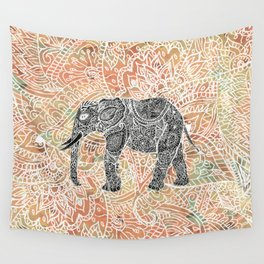 Tribal Paisley Elephant Colorful Henna Floral Pattern Wall Tapestry