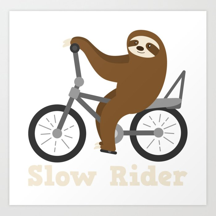Funny Sloth Biking Slow Rider Bicycle Gift Art Print