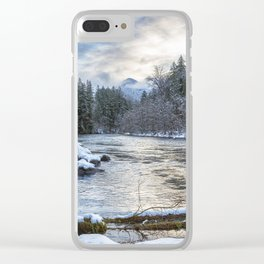 Morning on the McKenzie River Between Snowfalls Clear iPhone Case