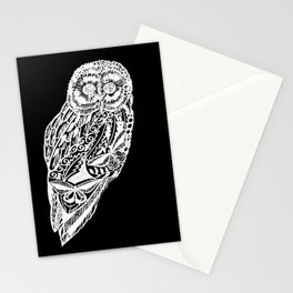 black and white prints of owls Stationery Cards