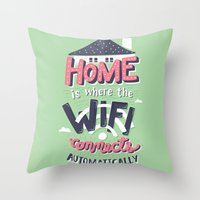 risa rodil Throw Pillows featuring Home Wifi by Risa Rodil