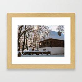 Winter tale in an old Romanian village Framed Art Print