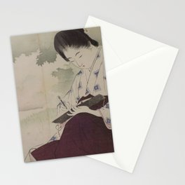 Beauty Sketching in a Field by Mizuno Toshikata, 1903 Stationery Cards