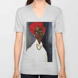 Rare African American Portrait of Aicha Goblet in a Red Hat by Amedeo Modigliani Unisex V-Neck