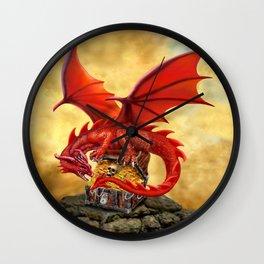 Red Dragon's Treasure Chest Wall Clock