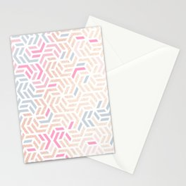 Pastel Deco Hexagon Pattern - Gold, pink & grey #pastelvibes #pattern #deco Stationery Cards