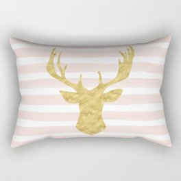 Pink Watercolor Stripes and Gold Deer Rectangular Pillow