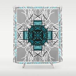 Turquoise and Gray Bohemian Mandala Shower Curtain