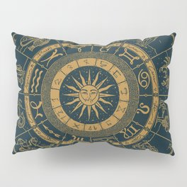 Vintage Zodiac & Astrology Chart | Royal Blue & Gold Pillow Sham