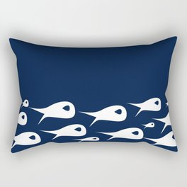 Fish Stripe 2. Minimalist Mid-Century Modern Fish School in White on Nautical Navy Blue Solid Rectangular Pillow