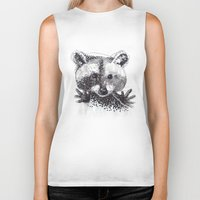 racoon Biker Tanks featuring Racoon by Faustine BLESSON