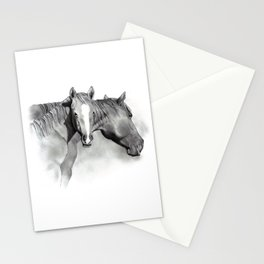 Horse Mare and Foal, Pencil Drawing, Equine Art Stationery Cards