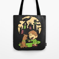 hobbes Tote Bags featuring Shaggy n Scoob by Moysche Designs