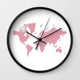 World with no Borders - pink Wall Clock
