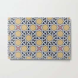 Entwined graphic Lines Home Design - mosaic grey beige Metal Print