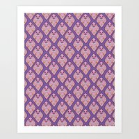 diamond damask print  Art Print