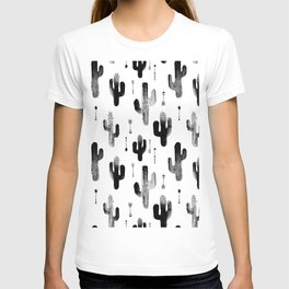 Black and white ink cactus garden indian summer T-shirt
