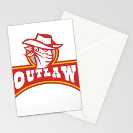 Bandit With Outlaw Text Retro Stationery Cards