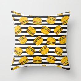 Burger Stripes By Everett Co Throw Pillow