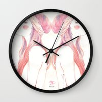 danny ivan Wall Clocks featuring danny by BABA-G | arts and crafts
