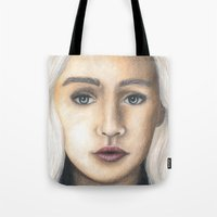 daenerys targaryen Tote Bags featuring Mother of Dragons by Eleanor Dapre