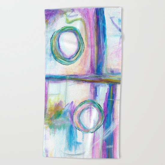 Just the Three of Us, Abstract Art Painting Beach Towel