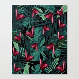 Tropical Butterfly Jungle Night Leaves Pattern #3 #tropical #decor #art #society6 Canvas Print