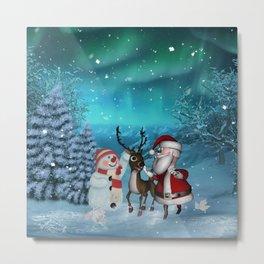 Cute Santa Claus with reindeer and snowman Metal Print