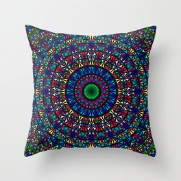 Colorful Church Window Mandala Throw Pillow