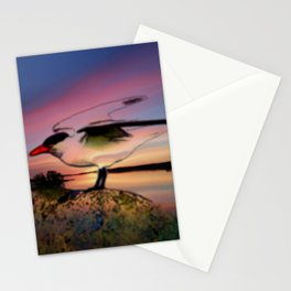 Sunset Take-off - Gull Painted with Sunset Colors Stationery Cards