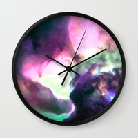 nebula Wall Clocks featuring Pastel nebULa by 2sweet4words Designs