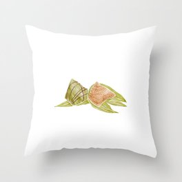Watercolor Illustration of Chinese Traditional Food Zongzi | 粽子 Throw Pillow