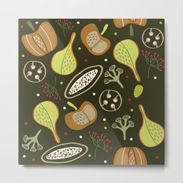 Pumpkins, halloween pattern design Metal Print