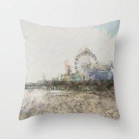 santa monica Throw Pillows featuring Scribbled Santa Monica Pier by Christine aka stine1