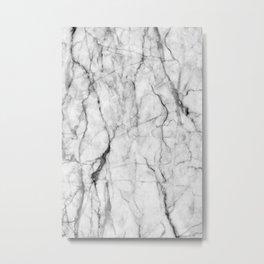 White gray marble texture Metal Print