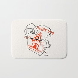 Chinese Food Takeout - Contour Line Drawing Bath Mat