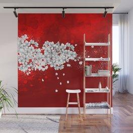 Red skies and white sakuras Wall Mural