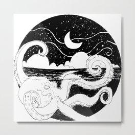 Octopus Night Metal Print