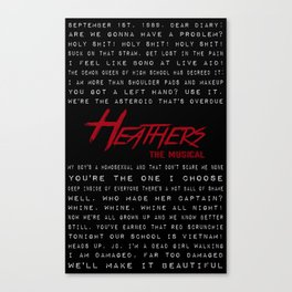 Heathers Lyrics Mish-Mash Canvas Print