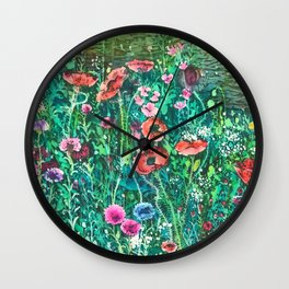 Poppies, Cornflowers and Spring Wildflowers at the Lagoon Wall Clock