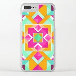 Geometric Tribal Mandala Inspired Modern Trendy Vibrant (Mint Green, Maroon, Wine, Hot Pink, Orange) Clear iPhone Case