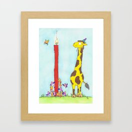 Giraffe Birthday greeting card by Nicole Janes Framed Art Print