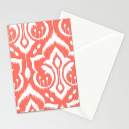 Ikat Damask Coral Stationery Cards