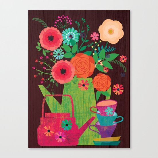 Flowers in a coffee pot Canvas Print
