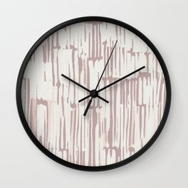 Simply Bamboo Brushstroke Lunar Gray on Clay Pink Wall Clock