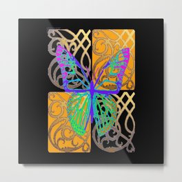 Fantasy World Butterfly in Black- Gold Pattern Art Design Metal Print