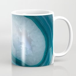 Teal Agate Slice with Druzy center Coffee Mug
